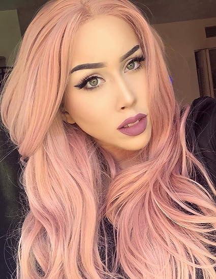 Peluca de pelo natural para mujeres de BESTUNG con encaje sintético, peluca ondulada de color