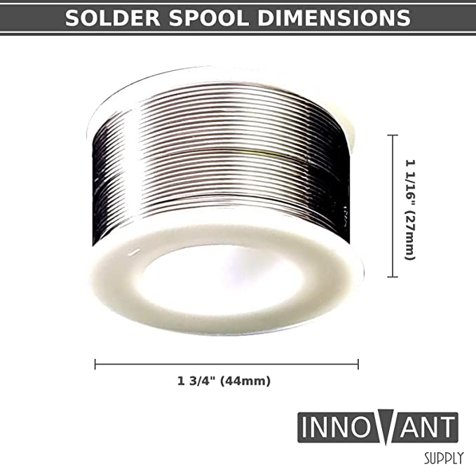INNOVANT Small Electronics Solder 60/40 Tin / Lead Alloy 2 Percent Rosin Core .8Mm 100G (3.5Oz) Coil Wire Spool Mid Temperature Melting W/ Low Flux Spatter ...