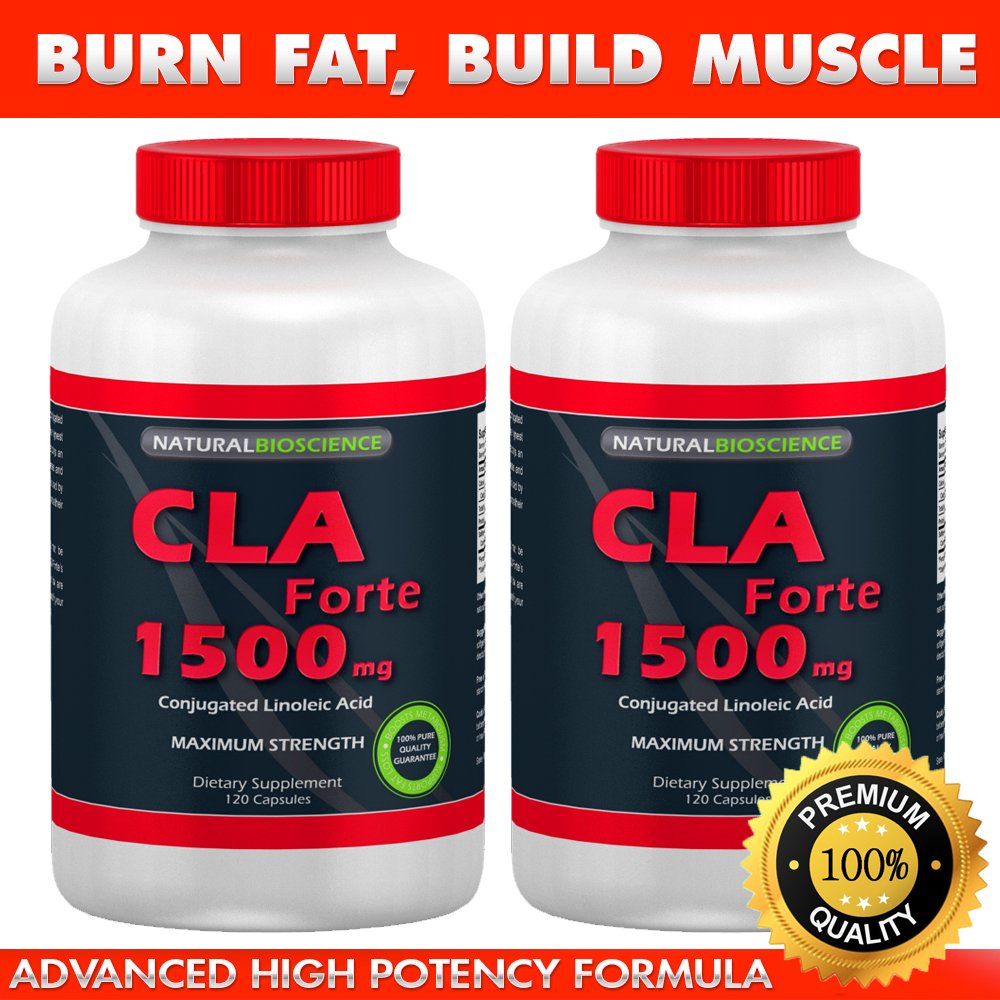 CLA Forte CLA 1500, Conjugated Linoleic Acid, High Potency CLA Supplement, CLA from 100% Safflower Oil for Weight Loss and Belly Fat, Increase Lean Muscle Mass, Non-Stimulating, Gluten-Free, 120 count