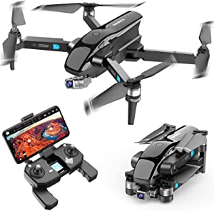 SIMREX X20 GPS Drone with 4K HD Camera 2-Axis Self stabilizing Gimbal 5G WiFi FPV Video RC Quadcopter Auto Return Home with Follow Me Altitude Hold Headless Brushless Motor Remote Control Black