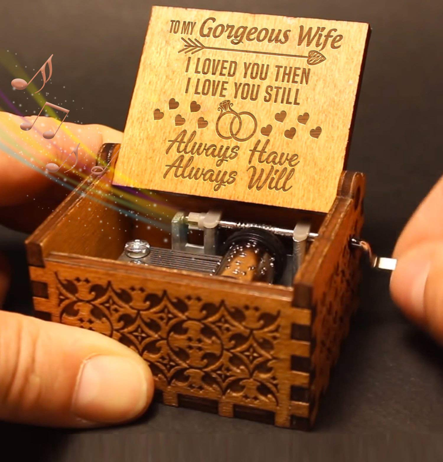 Engraved Music Box - You are My Sunshine, Gift for Wife from Husband - I Love You. by QUARTZILY