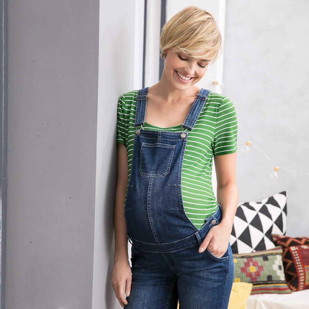 2HEARTS Umstands-Latzhose Love Latz-Shorts mit verstellbaren Tr/ägern Denim Kurze Latzhose aus Stretch-Denim f/ür die Schwangerschaft