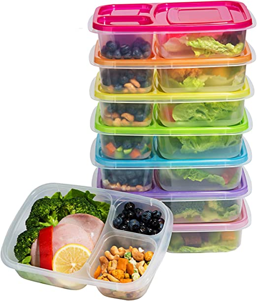 Meal Prep Containers 3-Compartment Lunch Boxes Food Storage Containers with Lids, BPA Free Plastic Bento Box Set of 7,Portion Control Divided ...