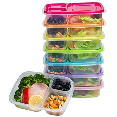 Meal Prep Containers 3-Compartment Lunch Boxes Food Storage Containers with Lids, BPA Free Plastic Bento Box Set of 7,Portion Control Divided Cover,Reusable