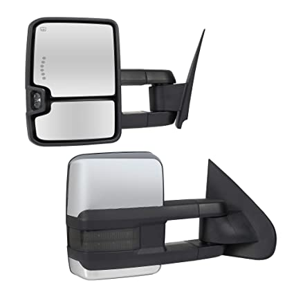 Towing Mirrors Passenger & Driver Side Power Operated & Heated With Smoked  Signal Arrow Chrome Finish 14-17 Chevy Silverado GMC Sierra 1500 2500HD