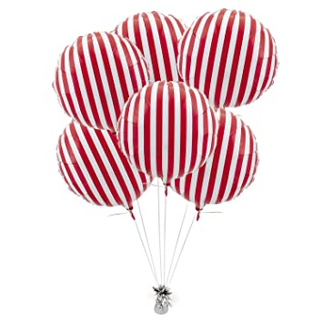 red striped mylar balloons 6 pc