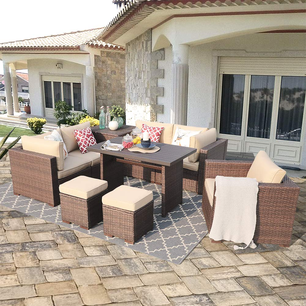 Patiorama 9 Piece Outdoor Patio Furniture Set, All Weather Wicker Patio Sectional Sofa Set with Storage Table, Dinning Set with Corner Loveseat Sofa Chair Ottoman Table, Brown Beige