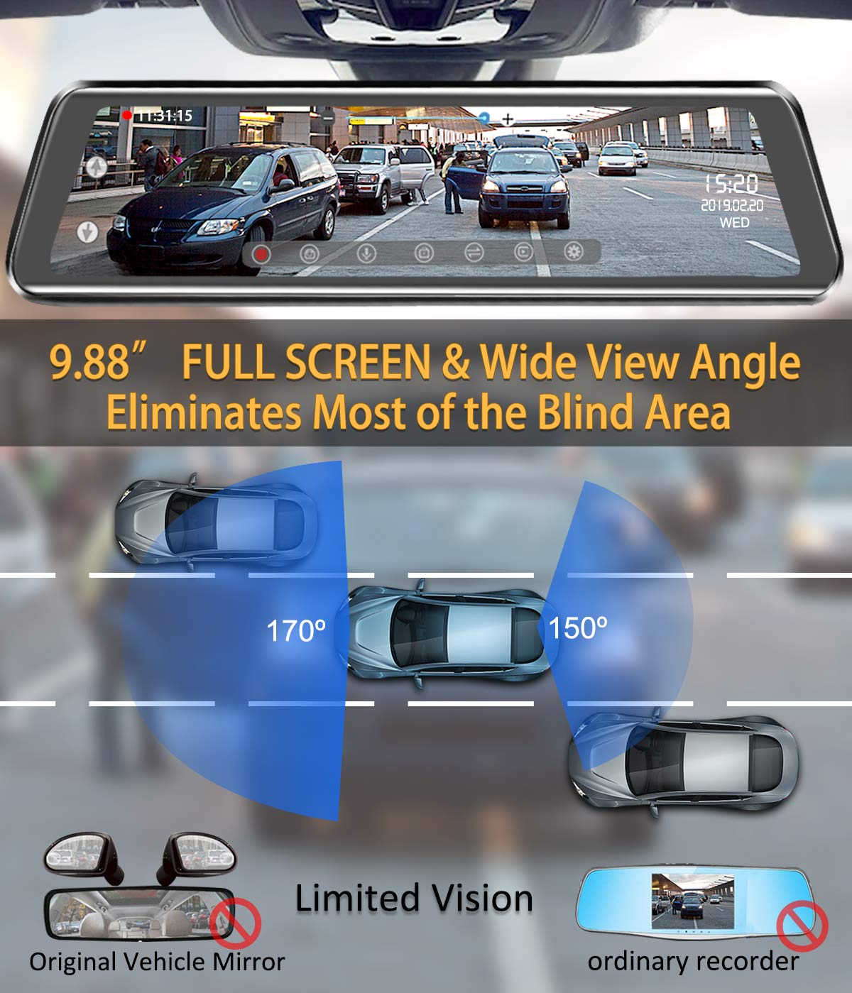 Mirror Dash Cam 9.88 inch Full Touch Screen Car Backup Camera Dual Recording HD Front 1080P 170/° Wide Angle 1080P Rear View Camera 150/° URVOLAX Night Vision,24-Hour Parking,GPS,Free SD Card