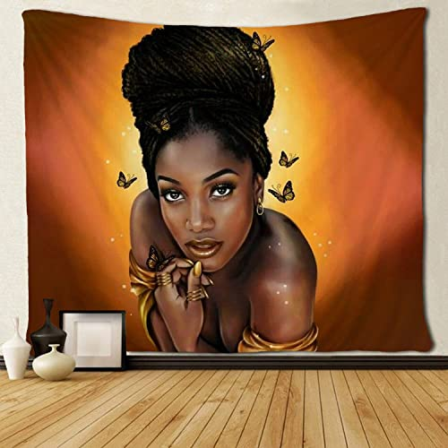 SARA NELL Wall Tapestry African American Women Afro Black Girl with Butterly Tapestries Hippie Art Wall Hanging Throw Tablecloth 60X90 Inches for Bedroom Living Room Dorm Room