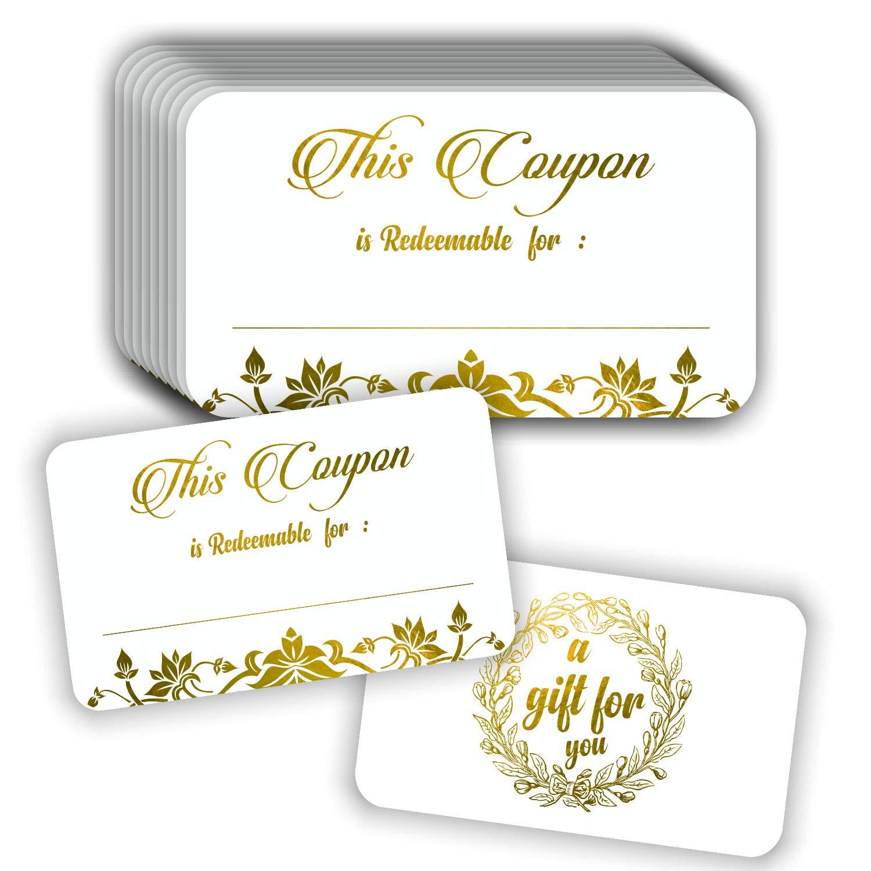 Tarjetas de cupón (paquete de 50) Premium Gold Foil Stamping ...