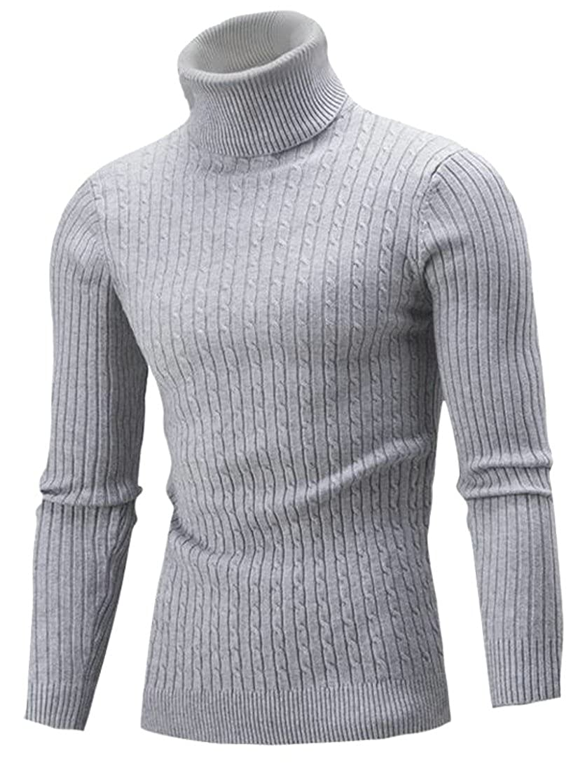Fulok Mens Cable Knit Slim Turtle Neck Warm Winter Pullover Sweater