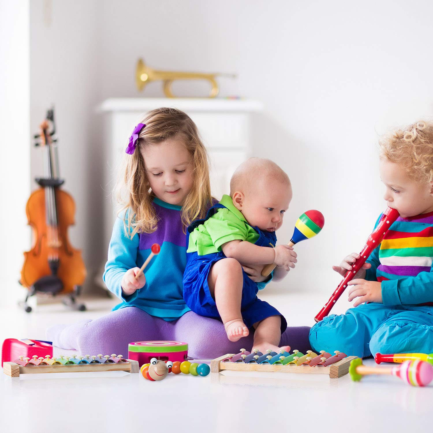 Xylophone for Kids Set Of Three Instrument Toys With Two Xylophone,One caterpillar toy-JiangChuan(2019 New Design),Best Birthday/Holiday Gift For Children's with Two Safe Mallets,Free Music socure by JiangChuan (Image #6)