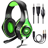 Cascos Gaming PS4 PC Xbox One, Gaming Auriculares con Microfono, Samoleus Headset Cascos Gamer con Jack 3.5mm con Playstation 4, Nueva Xbox One, PS4, Nintendo Switch, Laptop, Mac, iPad