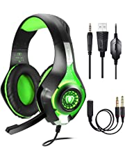 Gaming Headset für PS4 PC Xbox One Computer, Samoleus Stereo 3.5 mm Gaming Kopfhörer mit Mikrofon, LED Lichtfür PS4, PC, Mobiltelefon, Laptops, Smartphone, Playstation 4 (Green)