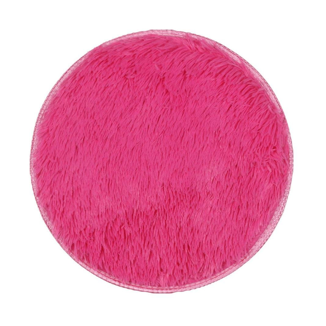Floor Mat by Vibola 40/40CM Thickened Circular Carpet Mats Dining Room Bedroom Carpet (Hot Pink)