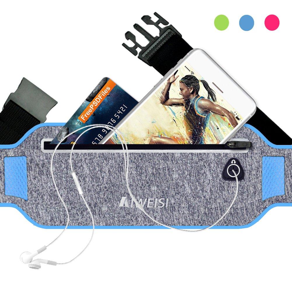 AIWEISI Running Waist Pouch Belt Lightweight Sweatproof Sport Belt Pack Fits for iphone 6 6s 7 Galaxy S5 S7 Honor 8 Studio X8 for Men Women with Hidden Pouch