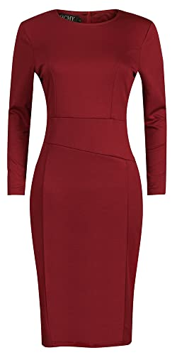 HCMY Women Long Sleeve Sexy Tight Pleated Cotton Wear to Work Midi Dress Office