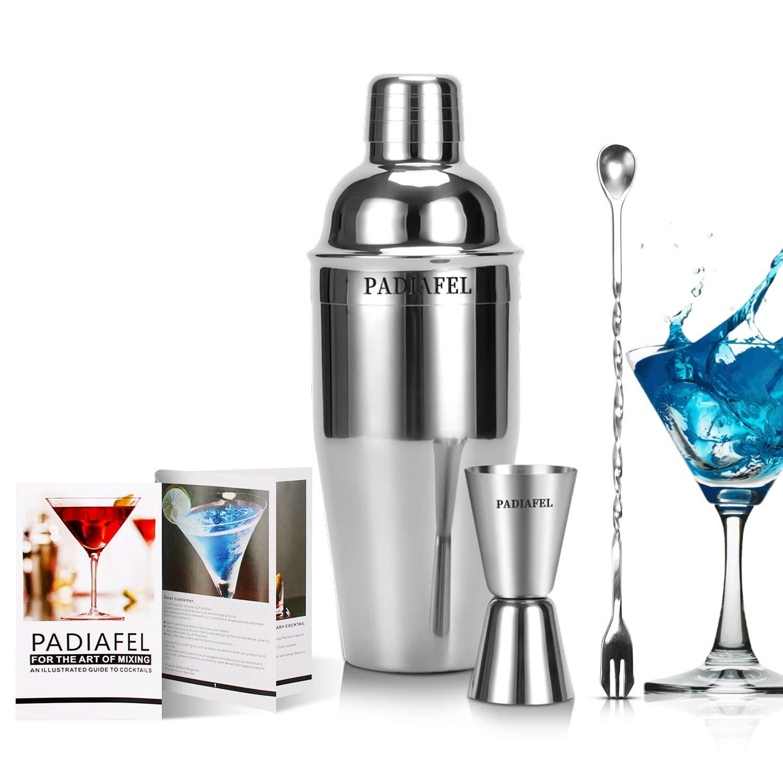 PADIAFEL Cocktail Shaker Bar-Set, professionelles Barkeeper Zubehör für Zuhause, 0,75l Edelstahl Martini / Drink Mixer mit integriertem Sieb, Messbecher, Barlöffel und Rezeptanleitungen