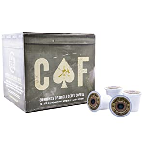 Black Rifle Coffee Company CAF Caffeinated AF Coffee Rounds for Single Serve Brewing Machines (50 Count) Medium Roast Coffee Pods Cups