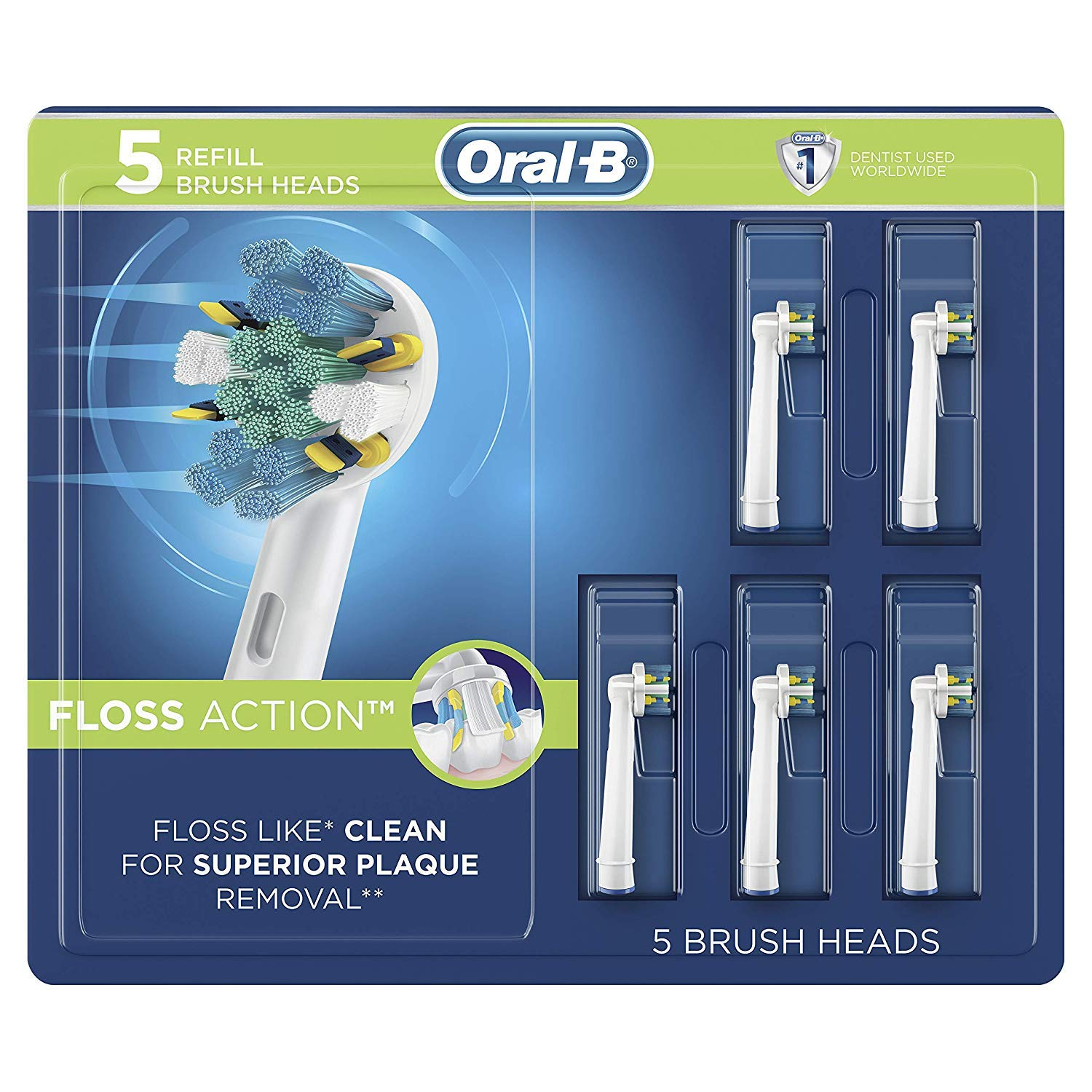 Oral-B FlossAction Electric Toothbrush Replacement Brush Heads, 5 Count