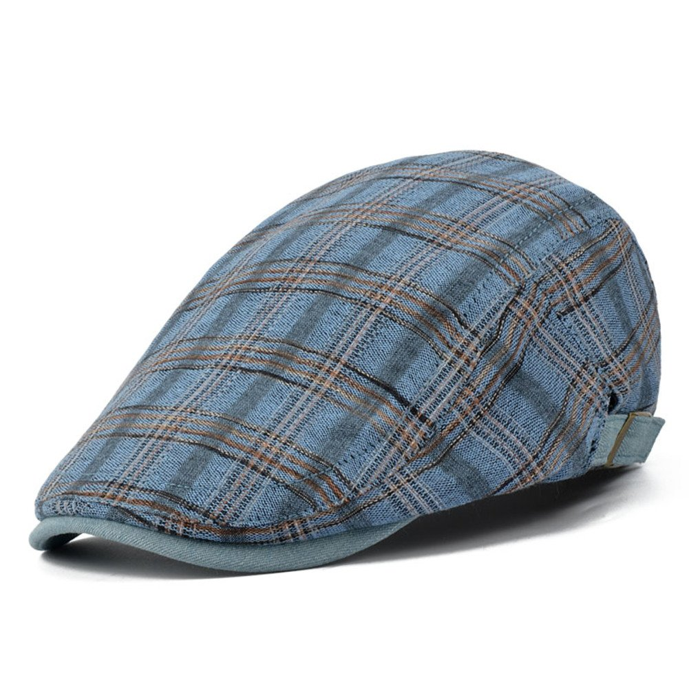 Mens hat Summer Outdoor Pure Cotton Hats Cap Casual Plaid Berets Painters Cap