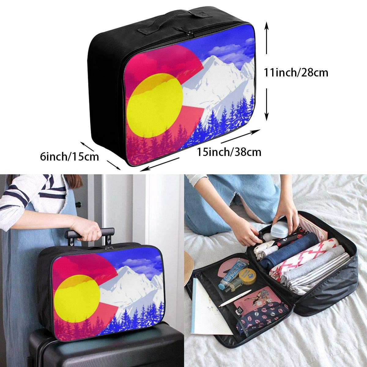 YueLJB Colorado Snow Mountain Lightweight Large Capacity Portable Luggage Bag Travel Duffel Bag Storage Carry Luggage Duffle Tote Bag