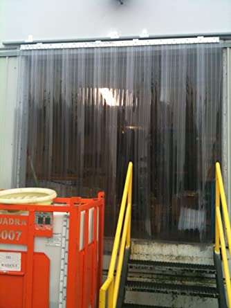 36 in. Ribbed Anti Scratch Standard 8 in Strip-Curtains.com: Strip Door Curtain width X 84 in. common door kit height strips with 50/% overlap 3 ft Hardware included 7 ft