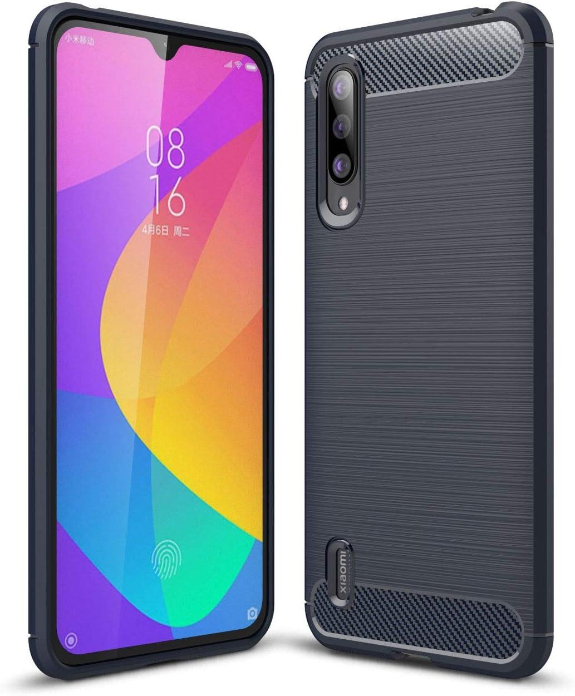 Funda para Xiaomi Mi 9 Lite/Mi CC9 Rugged Armor, Silicona Carcasa Xiaomi Mi 9 Lite/Mi CC9 Fibra de Carbono TPU Case Flexible Ultra Delgada Absorción de Choque Resistente Caso, Azul