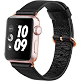 Apple Watch strap 38mm, FashionAids Lichi Calf Leather iwatch strap Replacement Band with Golden Stainless Metal Clasp for Apple Watch Series 0 1 2 and Version 2015 2016 Black-38mm