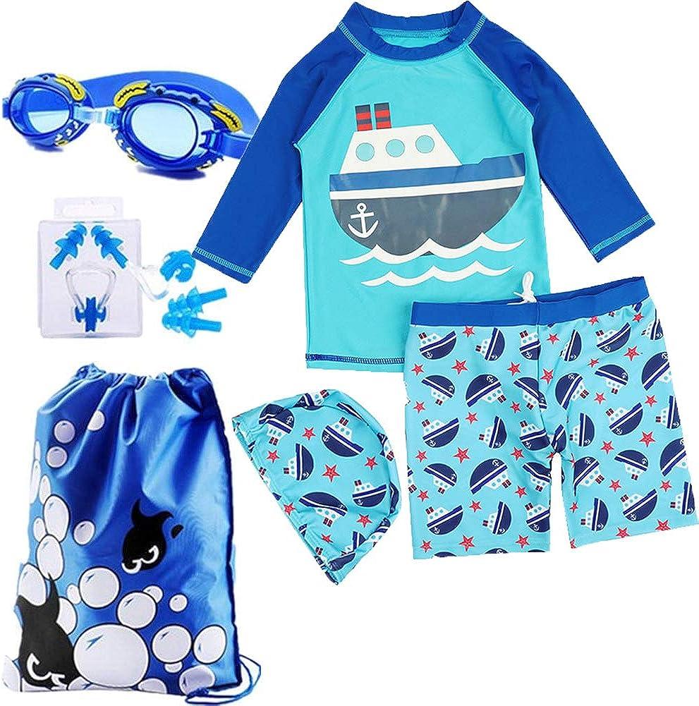 Zhuhaitf Kids Boys Three Piece Long Sleeve Rash Guard Sun Protection With Swim Cap
