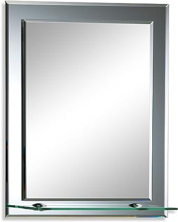Neue Design Magnifique Miroir de Salle de Bain rectangulaire avec étagère,  Moderne et élégant, Double Couche de Verre, taillé en biseau, Mural 50cm X  ...