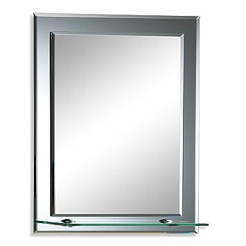 Neue Design Magnifique Miroir de Salle de Bain rectangulaire avec étagère,  Moderne et élégant, Double Couche de Verre, taillé en biseau, Mural ...