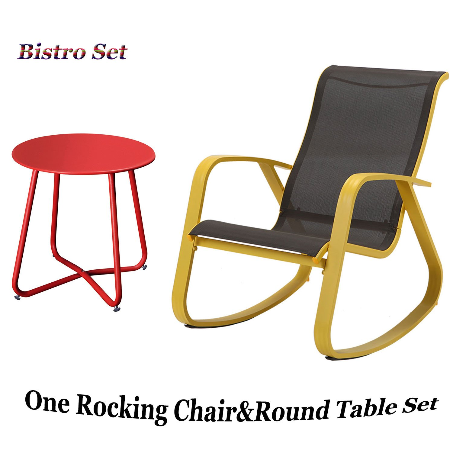 Grand patio Wide Gliders Rocking Chair and Round Table, 2 Pcs,Steel Frame,for Outdoor Porch Lawn,Color Yellow&Red by Grand patio