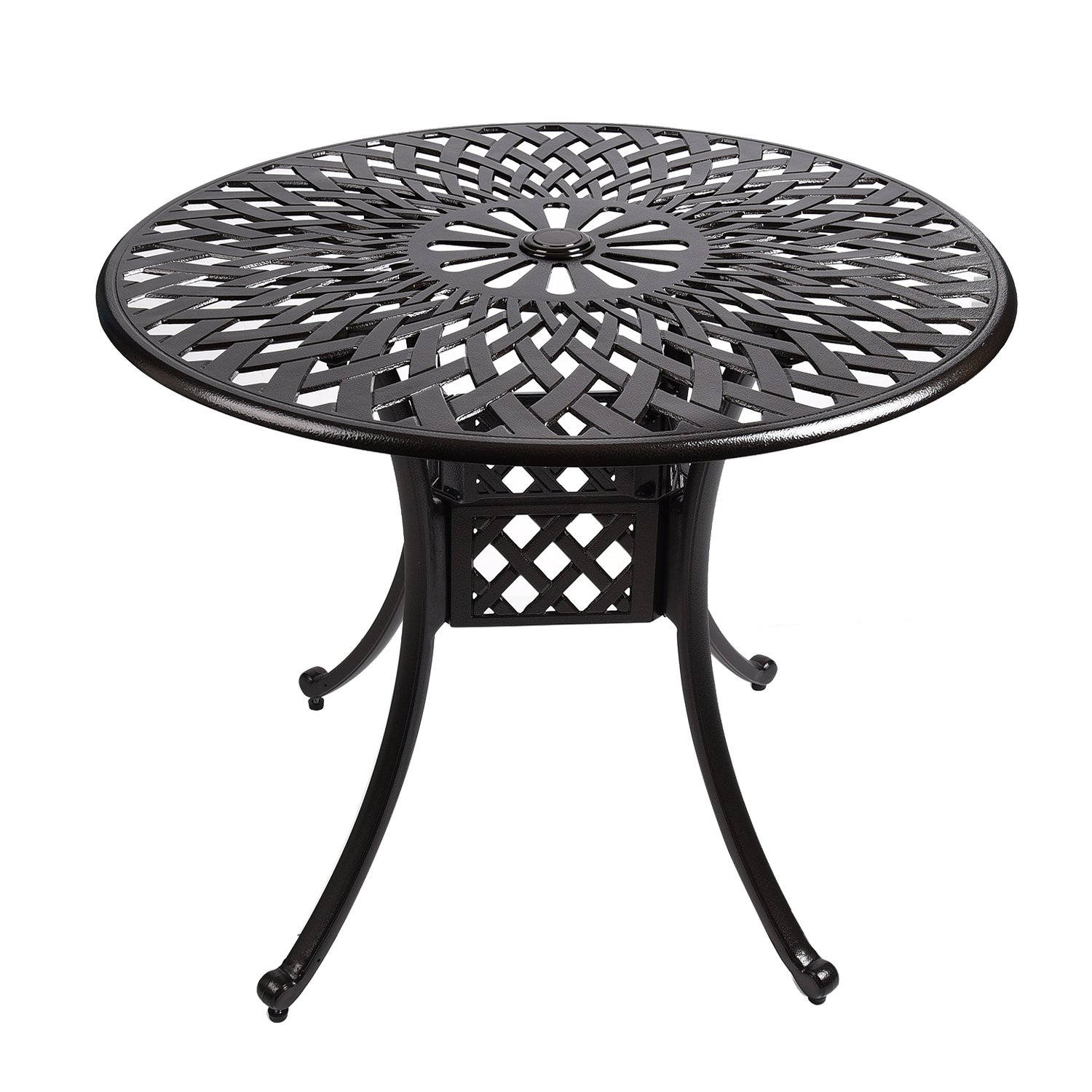 """YUSING Bistro Patio Table,35"""" Round Cast Aluminum Outdoor Dining Conversation Table with Umbrella Hole for Garden, Porch, Pool"""