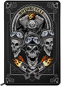Swono Motorcycle Skulls Tin Signs,Cool Motorbike Club Poster Vintage Metal Tin Sign for Men Women,Wall Decor for Bars,Restaurants,Cafes Pubs,12x8 Inch
