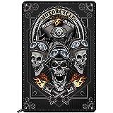 Swono Motorcycle Skulls Tin Signs,Cool Motorbike Club Poster Vintage Metal Tin Sign for Men Women,Wall Decor for Bars,Restaur