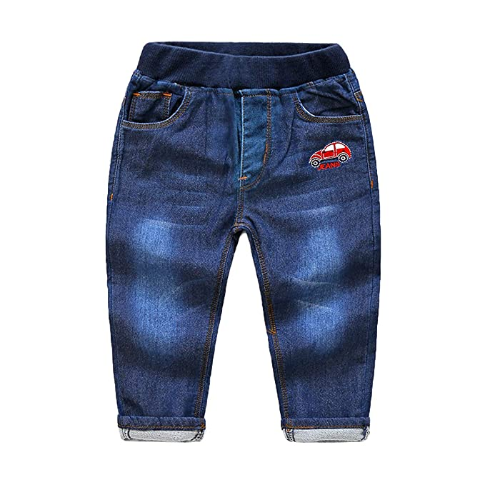 LAPLBEKE Niño Casual Cintura Elástica Vaquero Pantalon Jeans