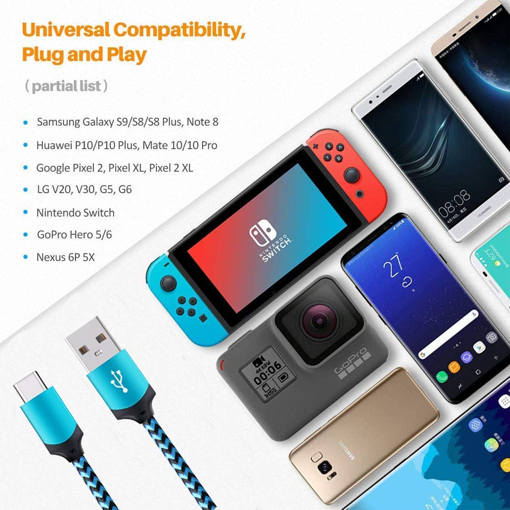 LG V30 V40 G8 G7 G6 Huawei P20 Ououdee 3.4A USB Car Charger Adapter with 6FT Fast Charging Braided USB C Cable Compatible Samsung Galaxy S10 S10e S9 S8 Plus Note 9//8 USB Type C Cable Nexus 6P 5X