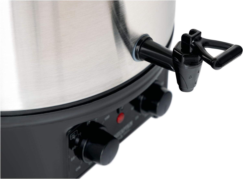 Arr/êt automatique temp/érature et minuterie 2000 W Argent Acier inoxydable bross/é Facile /à utiliser Stagecaptain GWK-27A Cuiseur /à vin /à incandescence avec 27 l
