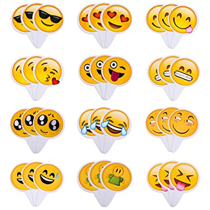 Aresmer 36Pcs Cute Emoji Cupcake Topper Baking Cake Decoration Birthday Party Decor Pack Of 36