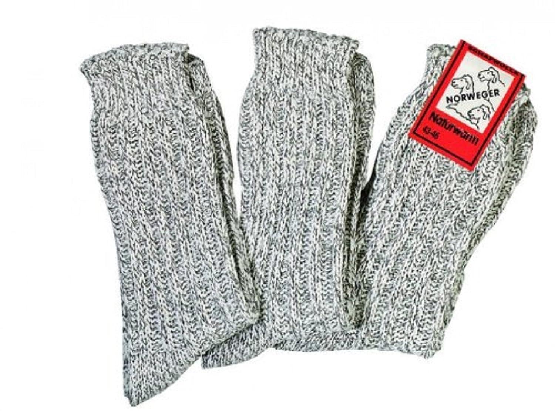 3 Paar Norweger Schafwollsocken für Damen und Herren wie selbst gestrickt Größe 47-49