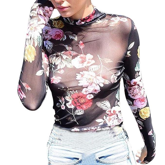 Camiseta Transparente Manga larga de mujer Blusa flaca floral sexy Tops transparentes de malla zycShang (