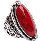 Fashion Ring,18K White Gold Plated Cubic Zirconia Ring with Red Synthetic-Turquoise Stone