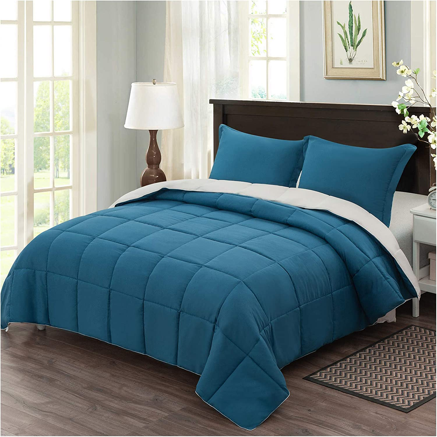 Homelike Moment Lightweight Comforter Set King Teal Reversible All Season Down Alternative Bed Comforter Set Summer Blanket 3 Piece - 1 Comforter 2 Pillow Shams King Size Teal / Ivory