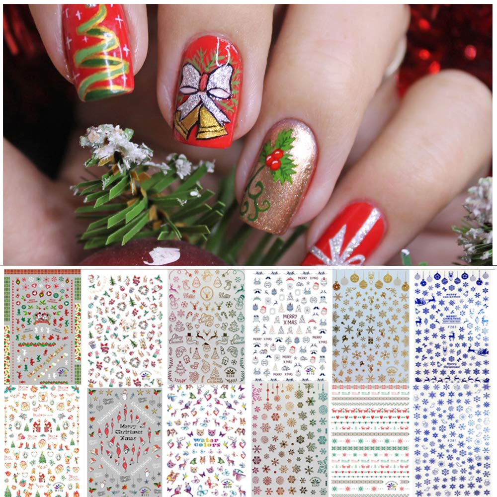 1000  Patterns Christmas Nail Art Stickers Decals for Women Kids  Kalolary 3D Design Self-adhesive Stickers DIY Nail Art Tips Stencil for Christmas Party Nail Decorations  12 Sheets  Large Size