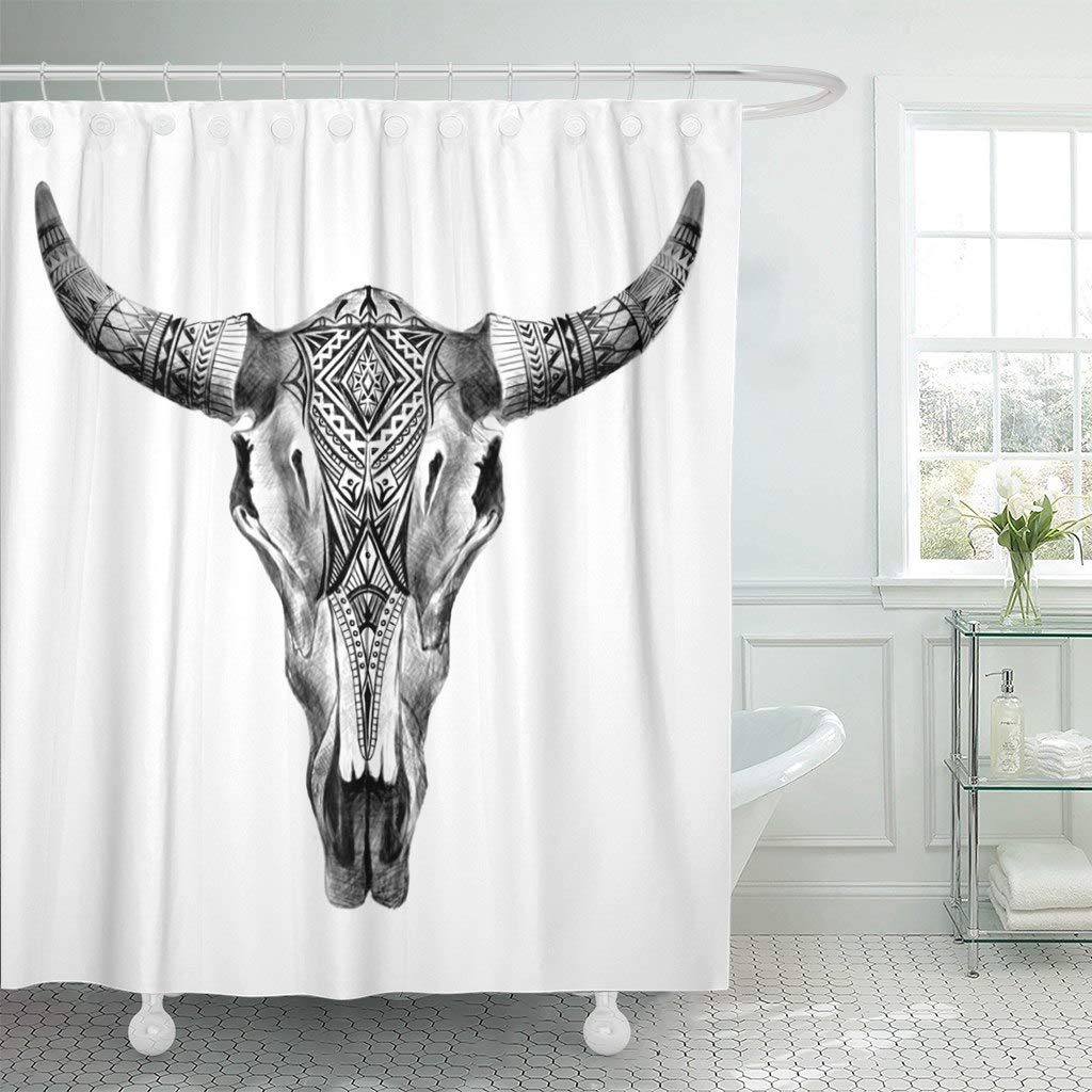 "Emvency Fabric Shower Curtain with Hooks Bull Aztec Longhorn Skull Cow Tribal Western American Animals Black Boho 60""X72"" Decorative Bathroom Treated to Resist Deterioration by Mildew"