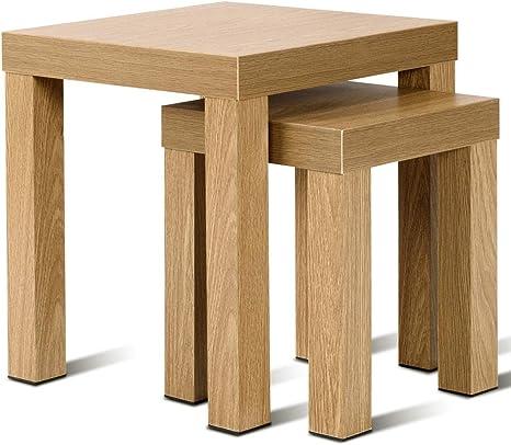 Juego de Mesa Auxiliar 2 mesas de sof/á Modernas mesas de Centro con Patas de Madera de Caucho Mesa de Centro con Mesa de t/é con Tapa de Cristal combinaci/ón de Mesa para Sala de Estar Dormitorio