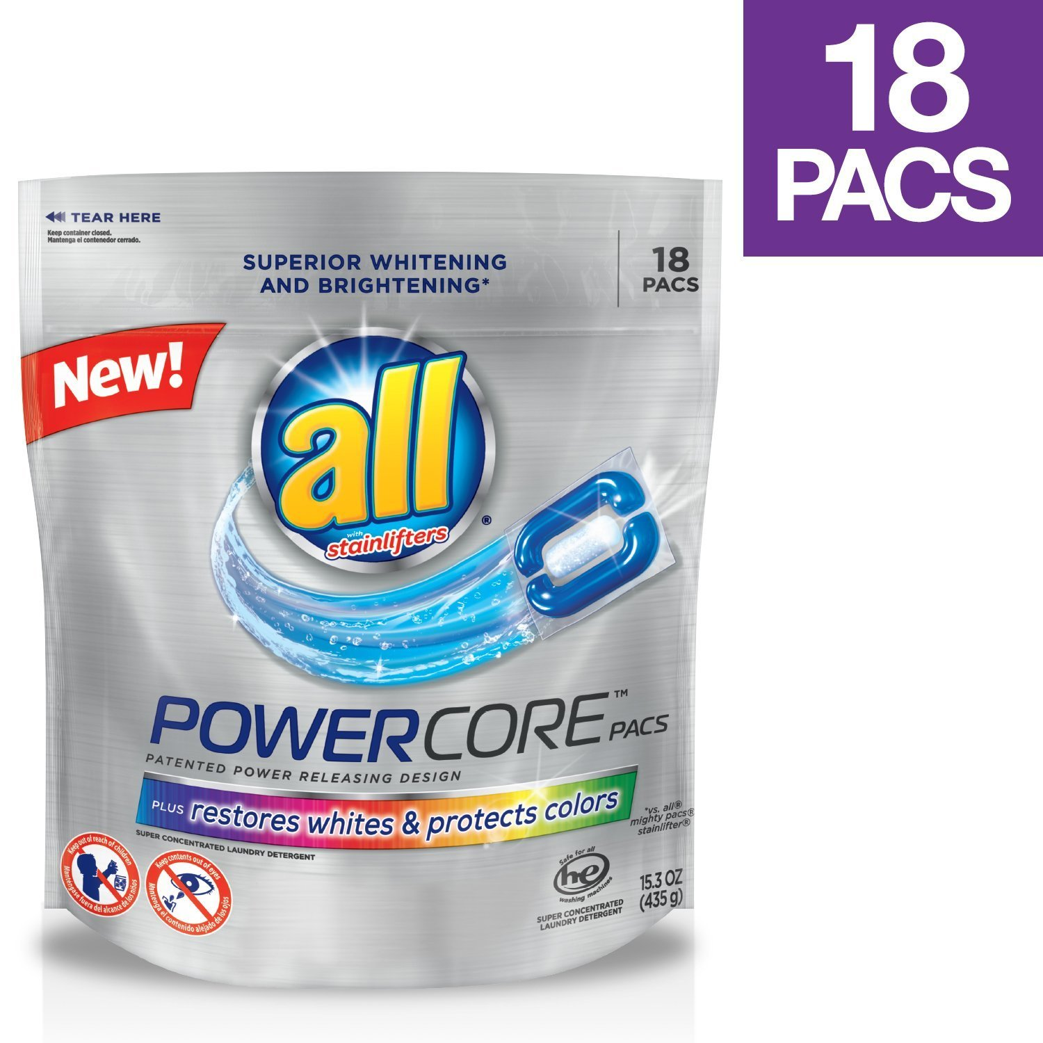 All Powercore Pacs Laundry Detergent Plus Restores Whites & Protects Colors, Pouch, 18 Count