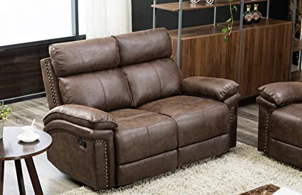 Superb Flieks Loveseat Leather Sectional Sofa Reclining Sofa Couch Recliner Chair Leather Accent Chair Set For Living Room Brown Cjindustries Chair Design For Home Cjindustriesco