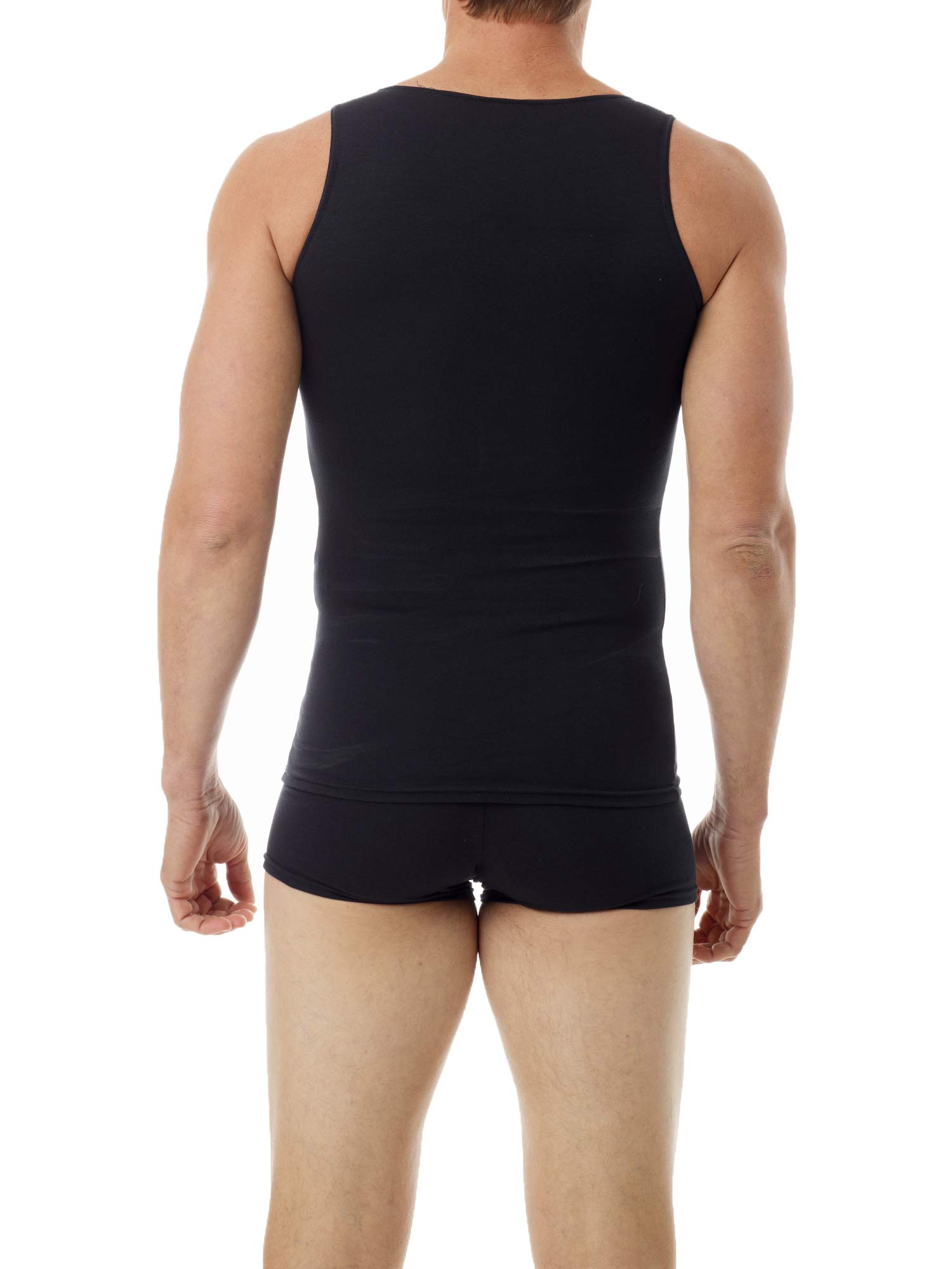 Underworks Mens Cotton Spandex Compression Tank 3-Pack, Small, Black by Underworks (Image #3)